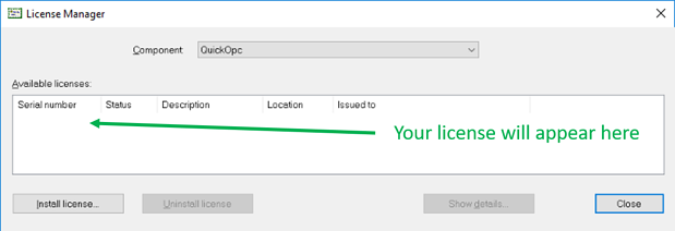 OPC Data Client License Manager
