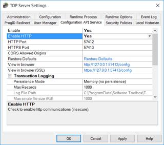 TOP Server V6 Config API Settings